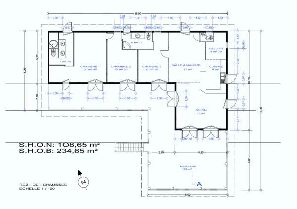 Plan d 39 une maison en forme de l - Maison en forme de u ...